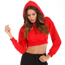Autumn winter Long Sleeve hoodie Loose Casual Midriff-baring Coat for Women sexy midriff baring tops