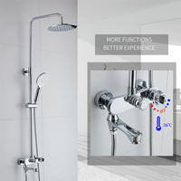 Modern Bathroom Rainfall Thermostatic Shower Faucet Set Chrome Mixer Taps With Hand Shower Head Wall Mounted Shower Set 88318
