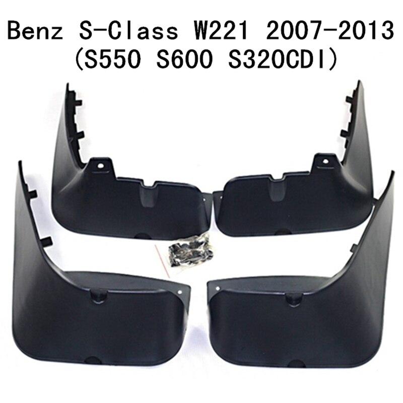 4 pcs/ensemble Voiture Bavettes pare-Boue Mud Flap Garde-Boue Fender Pour Benz Classe S S-Classe W221/V221 s550 S600 S320CDI 2007-2013