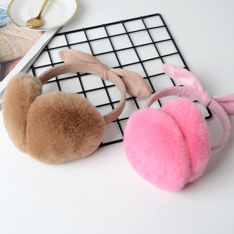 FXFURS Winter Real Rex Fur Earmuffs Bow Decorative Warm Sweet Color Ladies Fluffy Ear Warmer Girls Rabbit Fur Headphones