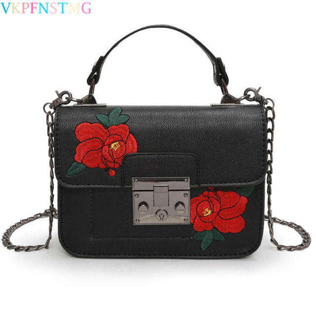 flower embroidered Bag fashion Shoulder handbags chain sling bag women  designer messenger small bags girls beauty gift party sac