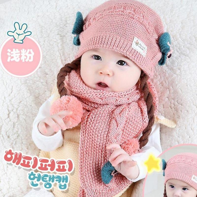 Doitbest корейский Поддельные косы детские вязаные шапки зима два цветка 2 шт детский шарф для девочки шляпа Набор Возраст 6 месяцев-2 лет - Цвет: light pink