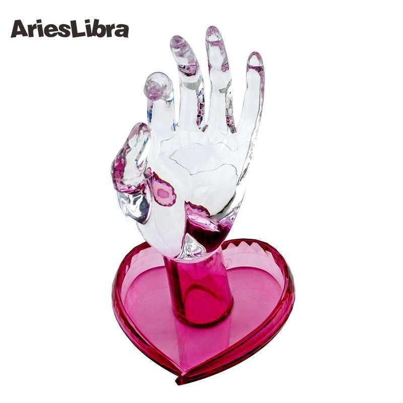 Arieslibro Púrpura/Azul/rosa/claro Flexible rotar los dedos humanos Personal y entrenador de uñas práctica mano Artificial mano