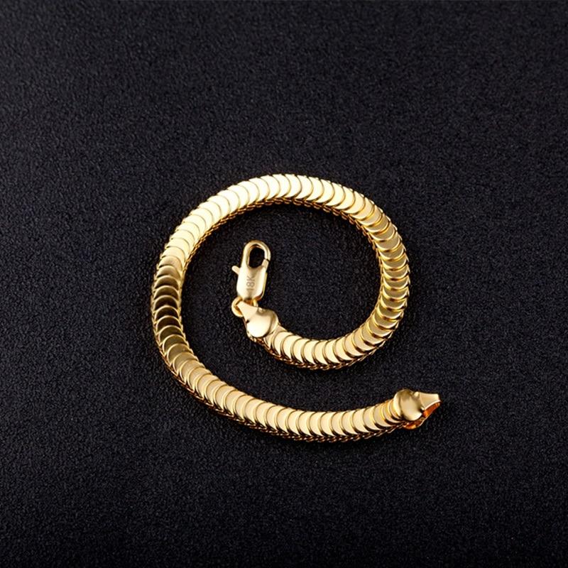 Fine Man Gift Gold Snake Chain 18KT Gold Bracelet+Necklace Jewelry Set SE43