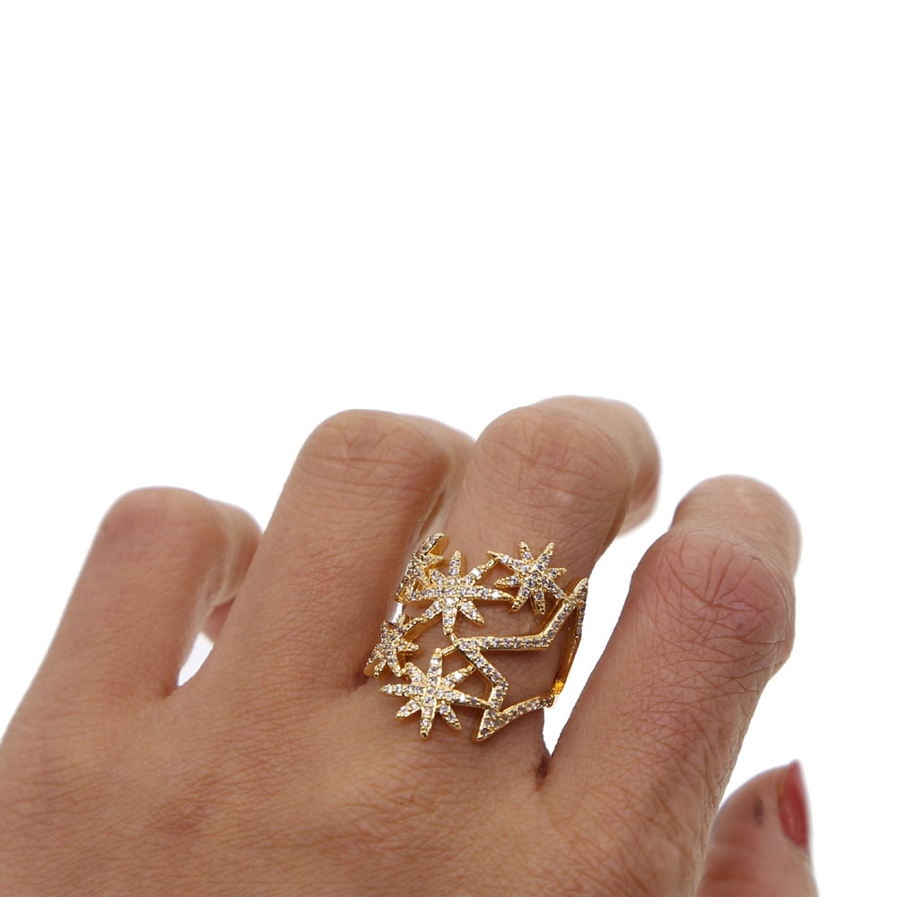 2018 New Top quality AAA sparking CZ northstar Fashion Women Cute Star Rings Size 6 7 Wonderful Gift For Girls Ladys