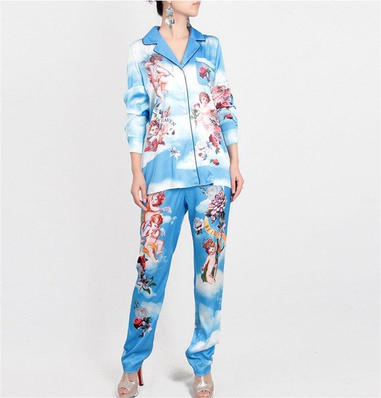 Women Pajamas Set 2018 Summer Women New Arrival Cut Angel Print Female Set Turn-Down Collar Blouse+Elastic Waist Long Pants Suit pajamas