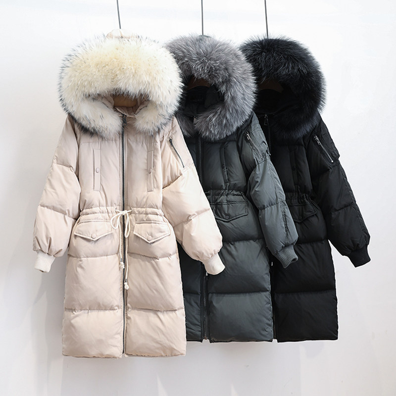New Long Down Winter Coat Women Plus Size   Parkas   Mujer 2019 Thicken Hooded Large Fur Collar Jacket Women Oversized Coats C4803