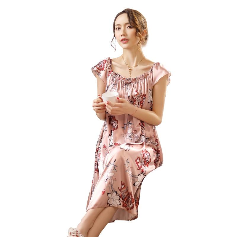 Ladies Nightgown Sleepwear Fashion Small Flower Women Nightgowns Printed,Hot Sale Plus Size 4XL Silk Nightwear For Summer,Autumn