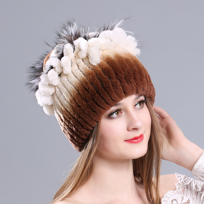 Russian Handmade hat cap for women Real Rabbit Fur Skullies Beanies Hats 2017 Winter Genuine Women Fur Caps Female Headgear cap 2017 classic russian women super good quality wool beanies hats with real fur ball knit caps solid skullies casual cap
