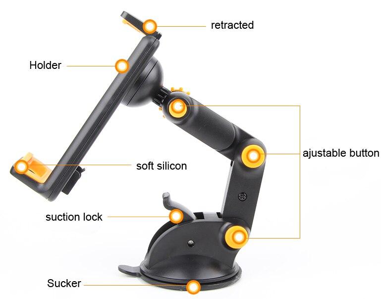 imágenes para Ajustable plegable giratorio de succión gps del teléfono móvil del coche montaje del soporte para nokia microsoft lumia 435/525/650, lumia 850