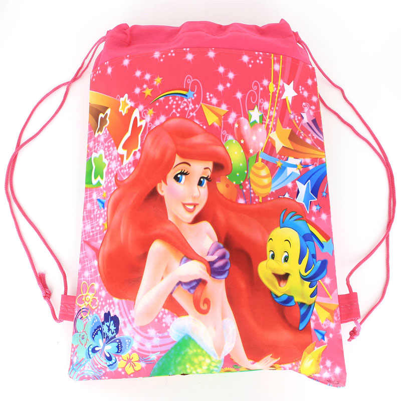 Happy Birthday Party Decoration Little Mermaid Princess Theme Girls Favors Backpack Baby Shower Drawstring Gifts Bags 1PCS/LOT