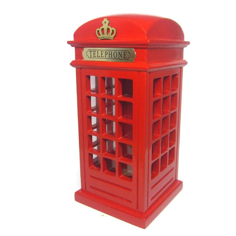 Madera británica dinero monedas Piggy calle de Londres cabina de teléfono  rojo Banco souvenir modelo caja 92eed3aa546