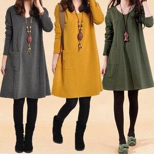 Image 1 - יולדות בגדי סתיו החורף חמוד V צוואר מוצק צבע לעבות החוצה משרד שמלת נשים בהריון הריון בגדים