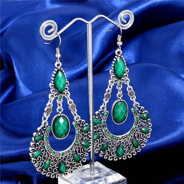 Womens Dangle Earrings   Peacock Feather Beads Earrings