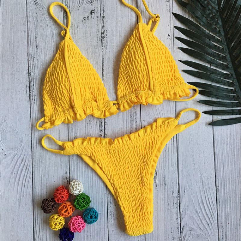 2019 Summer Sexy Micro Bikini Set Women Push-Up Padded Pleated Bra And Thongs Triangle Swimwear Swimsuit Beachwear Bathing Suit
