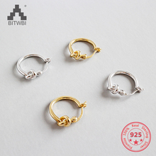 100% S925 Sterling Silver Simple Knot Concentric Gold Plated Ladies Earrings