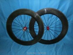 1 para nowy 700C 88mm obręcz rurowa rower szosowy węgla koła rowerowe 3 K całości z włókna węglowego zestaw kół rowerowych z Powerway R13 piasty darmowa wysyłka