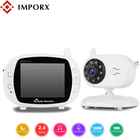 IMPORX New 3.5 inch 2.4GHz Wireless Video Color LCD Digital Baby Monitor High Resolution Night Vision Baby Nanny Security Camera