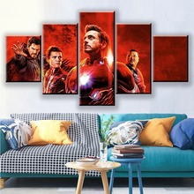 Movie Character Avengers Endgame Hero Super Warrior Print Picture 5 Piece Living Room Home Decoration Wall Art Canvas Painting