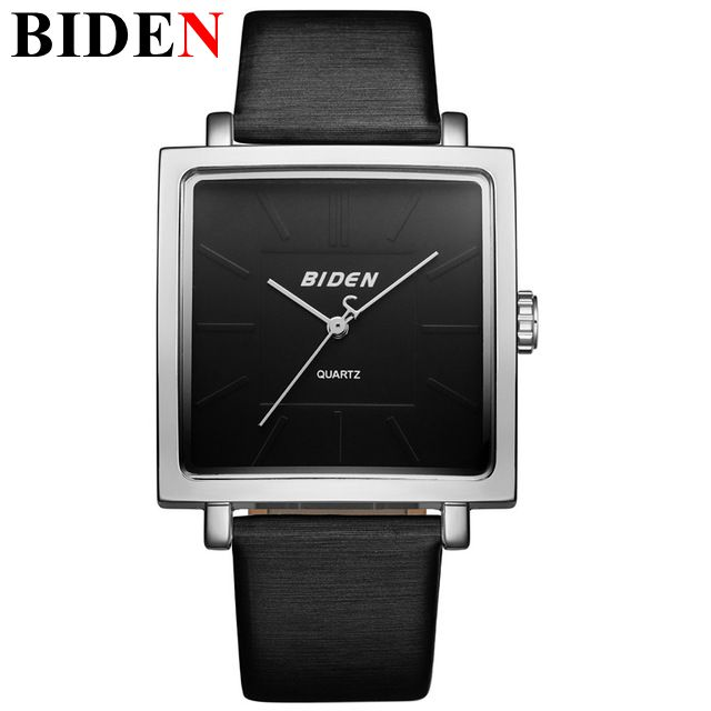 2017 BlDEN Fashion Square Dial Ladies Dress Watch Women Charm Leather Wrist Watch Quartz Clock Reloj Mujer Gifts For Women 6 colors fashion rhinestone women jewelry watch vintage square mini dial bracelet fancy wrist watch for ladies gifts ll
