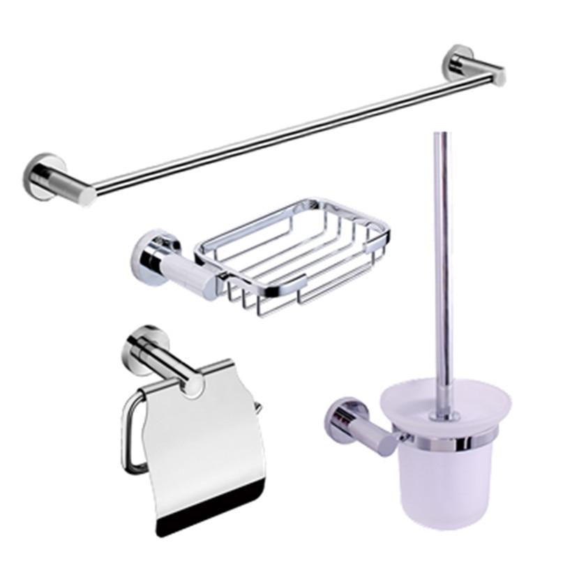 CRW accessoires de quincaillerie de salle de bain Set porte-serviettes + porte-brosse de toilette + porte-papier hygiénique + porte-savon 4 pièces/ensemble