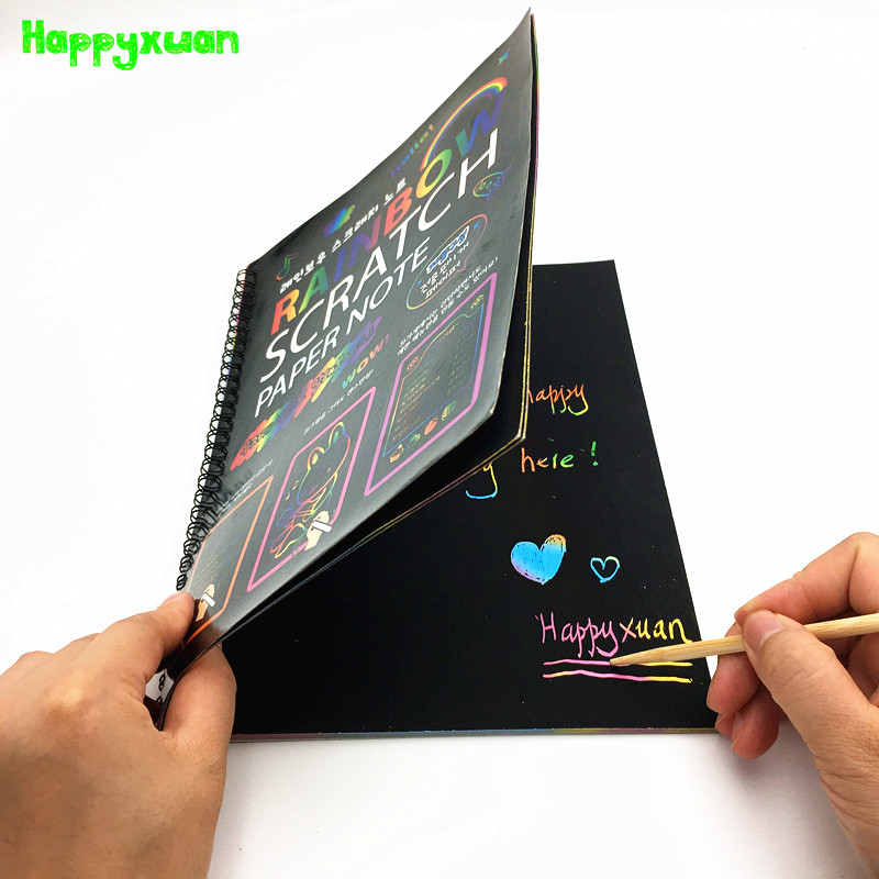 Happyxuan Large Magic Color Rainbow Scratch Art Paper Note Book Fully Black DIY Drawing Toys Coloring Painting Kids Doodle Gift