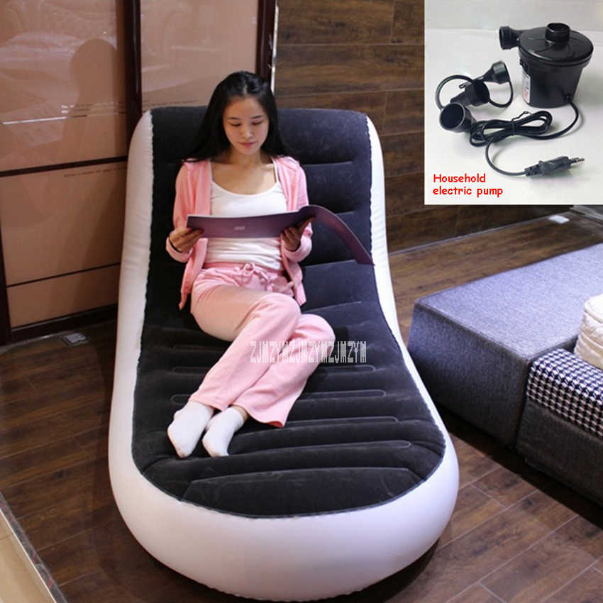 New A806 L-shaped Inflatable Sofa Bed Single Outdoor Portable Inflatable Sofa Home Lazy Sofa With Household Electric Pump+Pillow