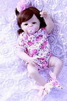 dollmai 55cm Full Body Silicone Reborn Baby Doll Curly girl Newbron Lifelike Baby Reborn Princess Doll Birthday Christmas Gift