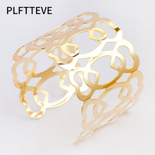 Cute Hollow Heart Cuff Bracelets & Bangles For Women Gold Silver Color Alloy Wide Open Female Bangle Bracelet Fashion Jewelry все цены