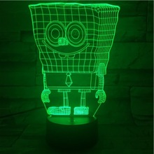 Awesome Child Led Night Lamp SpongeBob SquarePants Mustache Nightlight for Baby Bedroom USB Cartoon 3d Light Kids