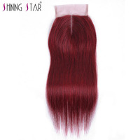 Burgundy Brazilian Straight Closure Human Hair 99J 4 4 Middle Part 10 18 Swiss Lace Shining