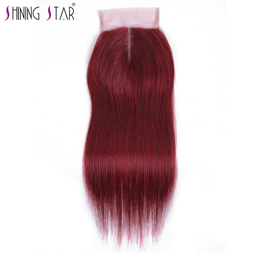 Bold Red 99J Middle Part Closure Straight Burgundy