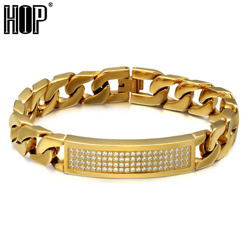HIP Hop Bling Ice Out Micro Pave CZ Stone Mens Bracelet 316L Stainless Steel Curb Cuban Link Chain Bracelets For Men Jewelry trustylan shiny glossy 316l stainless steel mens bracelets 2018 20mm wide chain bracelets jewellery accessory man bracelet