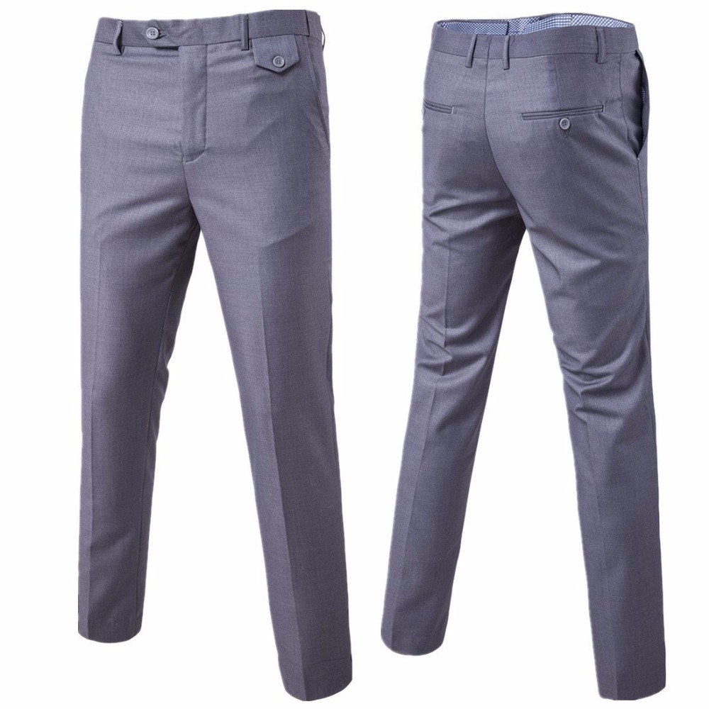 Casual Pants 2019 Hot Mens Suit Trousers Male High Quality Pure Color Slim Fit Business Suit Pants Male High-end Leisure Thin Leg Pants
