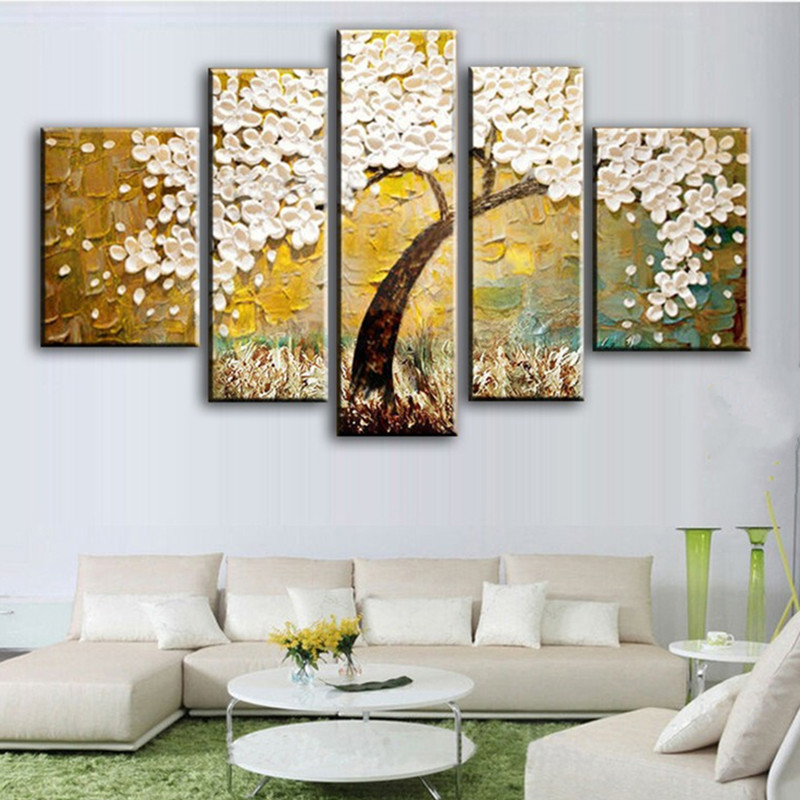 Knife 3D Floral Painting 5 Panel Pictures Hand painted Abstract White Flowers Oil Paintings on Canvas