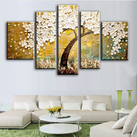 Knife 3D Floral Painting 5 Panel Pictures Hand painted Abstract White Flowers Oil Paintings on Canvas Large Wall Art Home Decor