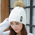 2016 NEW Casual Beanies Women Winter Hats Crochet Knitting Wool Cap Fur Pompons Ball Warm Gorros Outdoor Thick Female Cap
