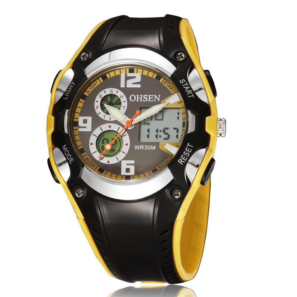 Fashion OHSEN Brand Digital Sports Watches Children Boys Girls Waterproof Rubber Band Wristwatch Popular Military Watch Gifts