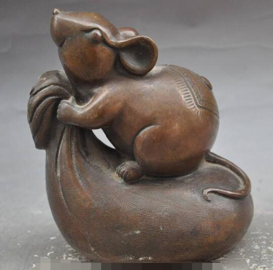 S6653 China Bronze Auspicious Wealth Purse Strings Mouse Rat Mice Lucky Animal Statue D0317