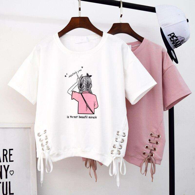 Cheap Sale Bnadage Letter Print Women Hoodies Sweatshirts Hoodies outwear Hip-Hop Loose Clothes Half Sleeve