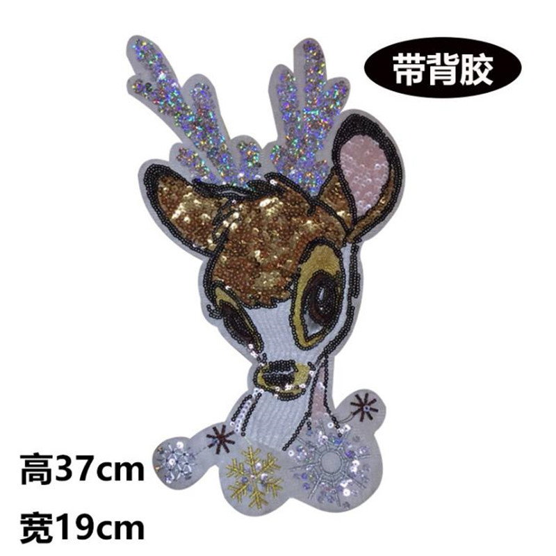Fashion Tops Shirt Girl Patch Clothes 37cm deer Sequins deal with it Patches for clothing T shirt women Stickers
