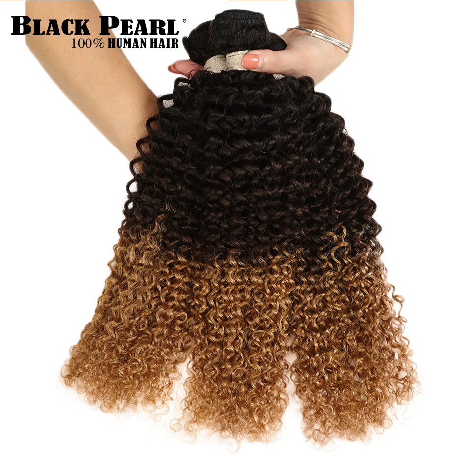 Hair Weaves Black Pearl Three Tone Ombre Brazilian Hair Bundles Kinky Curly Human Hair Extensions 1b/4/27 Non Remy Hair Weave 1 3 4 Bundles Be Shrewd In Money Matters