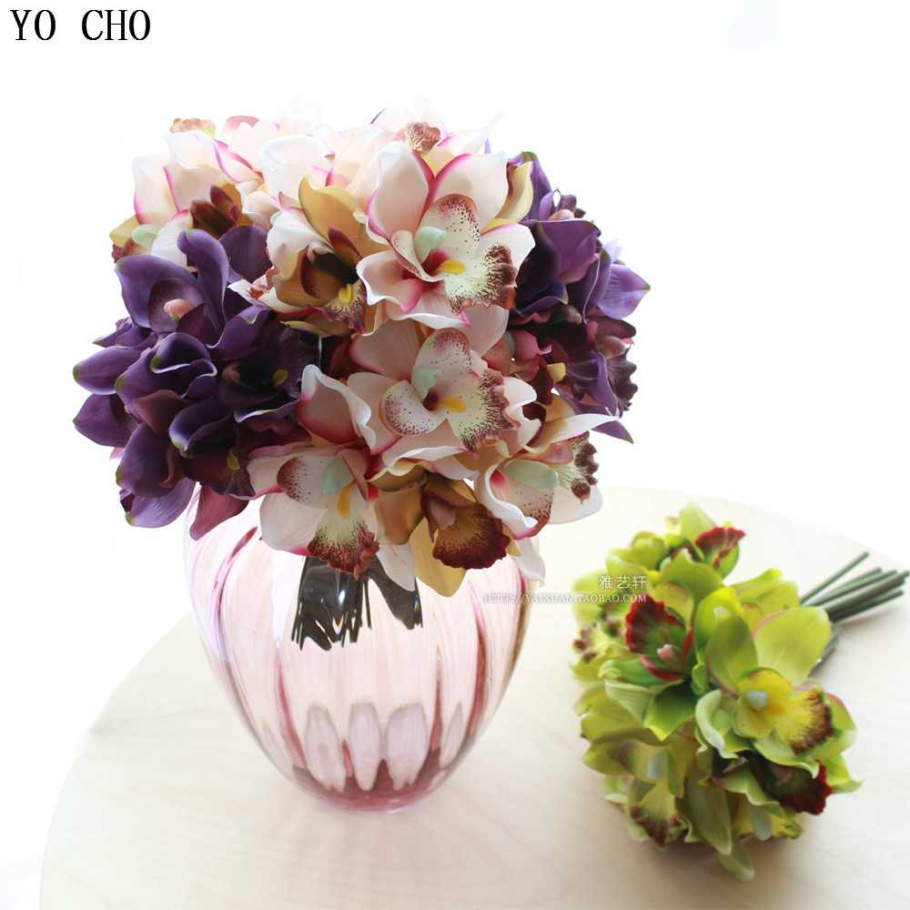 Free Shipping 7 Flower Heads Piece Artificial Flowers Cheap Orchid Decoration Flower For Home