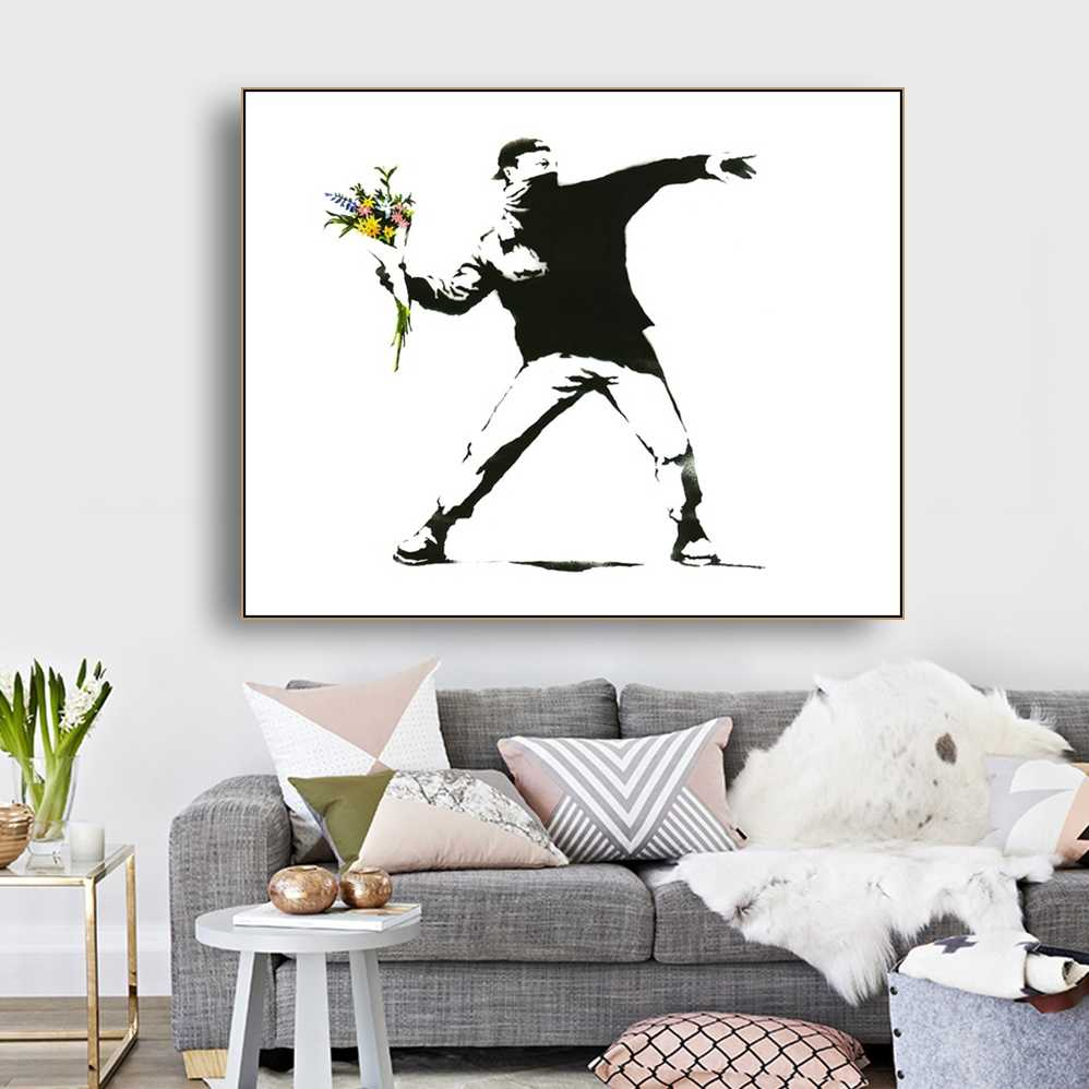 Flowers and Man by Banksy Wall Art Decor Canvas Painting Calligraphy Poster Print Decorative Picture Living Room Home Decor