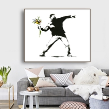 Flowers and Man by Banksy Wall Art Decor Canvas Painting Calligraphy Poster Print Decorative Picture Living Room Home