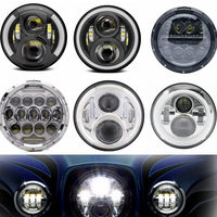For Harley Davidson 7 Led Projector MOTO Headlight Angle Eyes DRL For Harley Touring Electra Glide Black 7 Inch Led Light