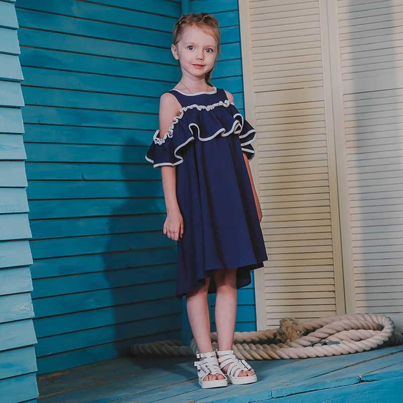 Bear leader/платья для девочек коллекция 2019 года, летнее джинсовое платье для девочек хлопковые летние платья с короткими рукавами и открытыми плечами для детей от 3 до 7 лет