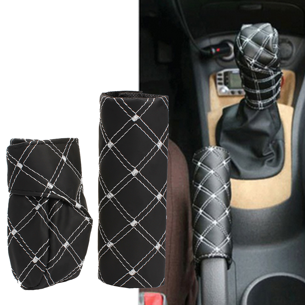 1set Universal Car Gear Shift Knob Boot Cover Handbrake Grip Cover - Accesorios de interior de coche - foto 1