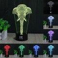 HUI YUAN Elefante 3D Luz Da Noite Da Lâmpada Multi 7 Mudança de Cor USB Inteligente Botão de Toque LED Desk Mesa de Luz Da Noite Dom Kiddie