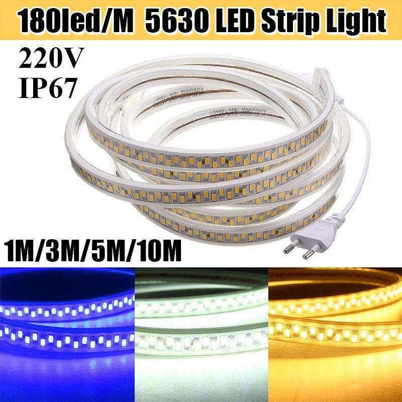 1M/3M/5M/10M EU Plug 5730 5630 SMD Waterproof LED Strip Light 180leds/m Flexible Tape Rope Lamp AC220V